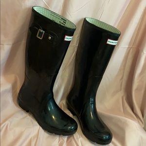 Hunter black rain boots size women's 7m